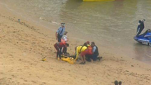 Crews performed CPR on the fisherman before he was taken to St George Hospital. (9NEWS)