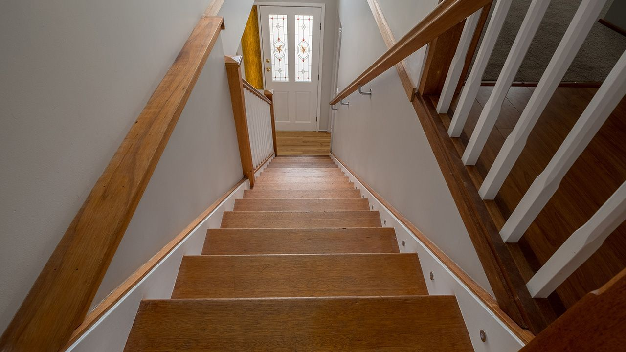 BEFORE: The timber stair case