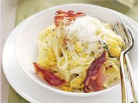 Fettuccine with roasted pumpkin and pancetta