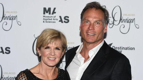 Julie Bishop and partner David Panton at a fashion launch in Sydney. (AAP)