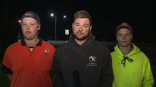 The tradies said the man shot at them with a rifle three times. Picture: 9NEWS
