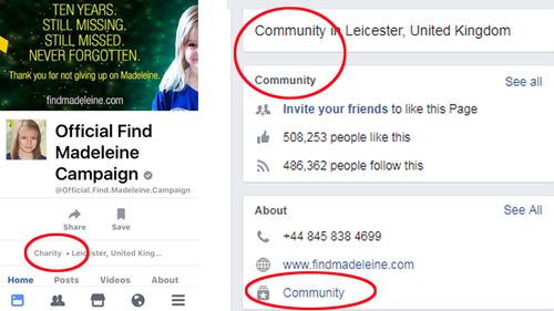 Facebook users highlighted the official Find Madeleine McCann Facebook page was wrongly listing itself as a 'charity' (left), but switched to 'community' after criticism. Source: Facebook