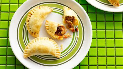 "Chicken, raisin and pine nut empanadas - <a href=""http://kitchen.nine.com.au/2016/05/16/16/22/chicken-raisin-and-pine-nut-empanadas"" target=""_top"">view recipe</a>"