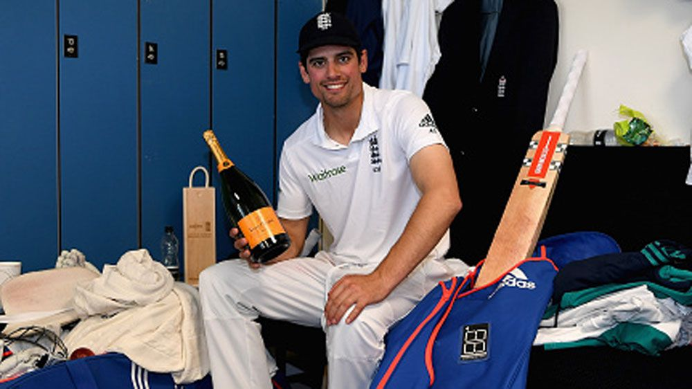 Alastair Cook enjoys a moment after the Test win. (Getty)