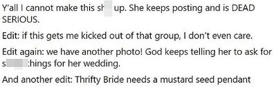 Bride uses local swapping group to donate everything to her wedding