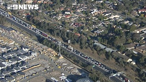 The multi-vehicle crash is causing extensive traffic delays for westbound motorists. (9NEWS)