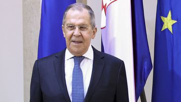 Russian Foreign Minister Sergey Lavrov and Croatia's Foreign Minister Gordan Grlic Radman