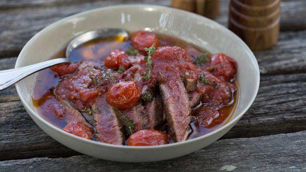 Paul West's skirt steak in tomato oil