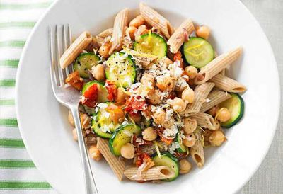 "Recipe:&nbsp;<a href=""http://kitchen.nine.com.au/2016/05/05/10/01/weight-watchers-zucchini-chickpea-and-semidried-tomato-pasta"" target=""_top"">Zucchini, chickpea and semidried tomato pasta</a>"