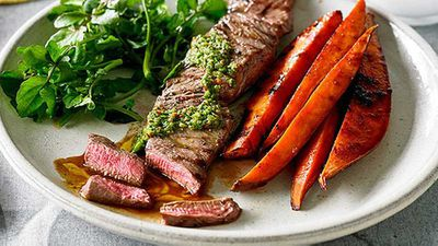 <strong>Chimichurri beef fillet with watercress and sweet potato</strong>