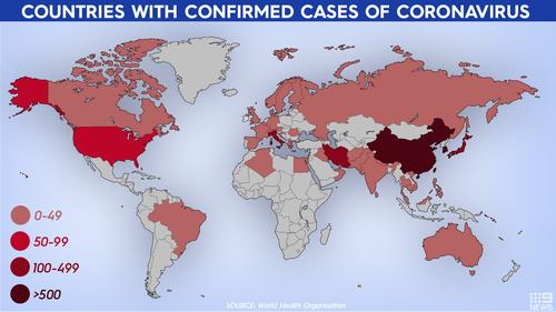 Страны с подтвержденными случаями коронавируса.