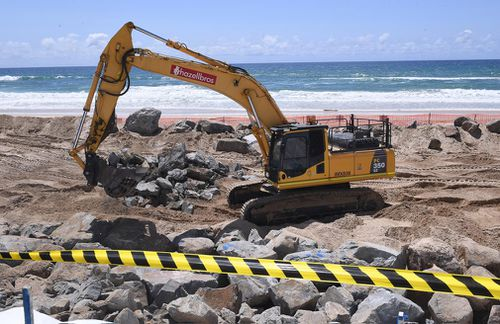 Seawall construction is seen on the Gold Coast.