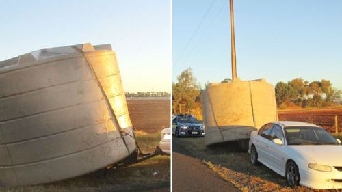 Driver towing huge rainwater tank tests positive for meth