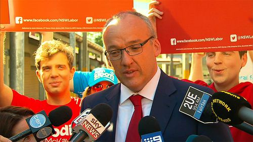 Labor's Luke Foley speaks at an event on election day. (9NEWS)