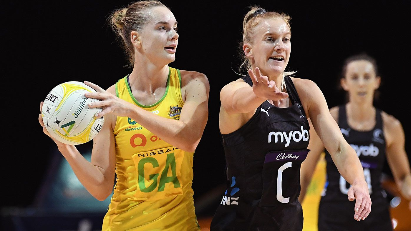 Kiera Austin of Australia looks to pass the ball during the Constellation Cup International Test Match between the New Zealand Silver Ferns and the Australia Diamonds at Christchurch Arena on March 03, 2021 in Christchurch, New Zealand. (Photo by Kai Schwoerer/Getty Images)