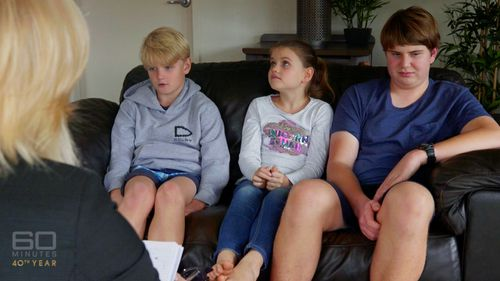 Harry, Georgia and Tom are often at risk during Max's meltdowns. Picture:  60 Minutes