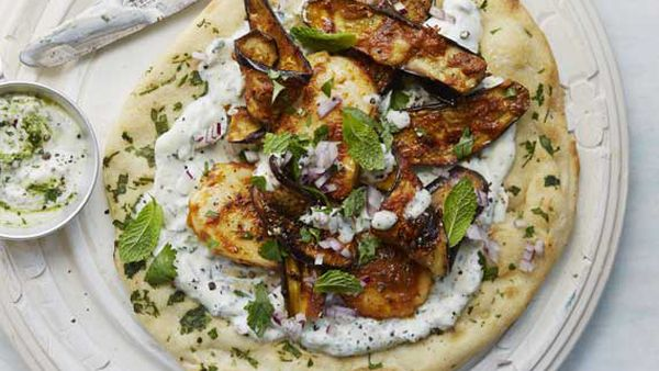 Anjum Anand's grilled halloumi and eggplant wraps with herbed yoghurt