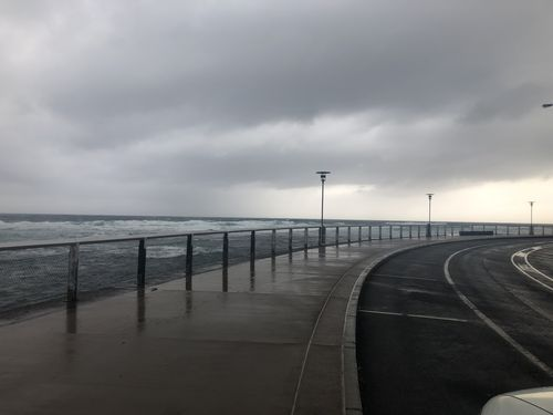 Storm clouds above Newcastle, where a month's worth of rain is expected in a single day. (9NEWS)