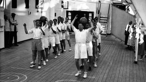 A fitness session for the England cricket team onboard the P & O cruise ship, Stratheden, en route to Australia for the Ashes Test Series, circa 1950.  (Popperfoto, Getty Images)