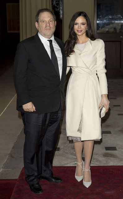 Harvey Weinstein and Georgina Chapman attend a Dramatic Arts reception hosted by Queen Elizabeth II at Buckingham Palace on February 17, 2014 in London, England