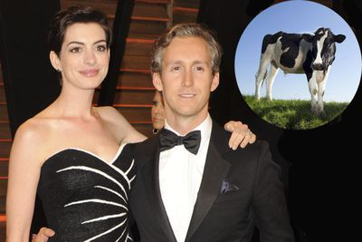 Anne Hathaway and producer husband Adam Shulman got a cow from PETA, aptly named Peter.