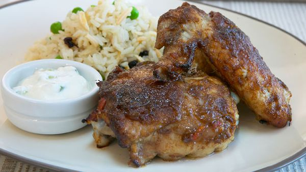 Tamarind chicken with almond pilaf