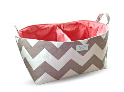 A handmade nappy caddy cute enough for guest towels, magazines and more.