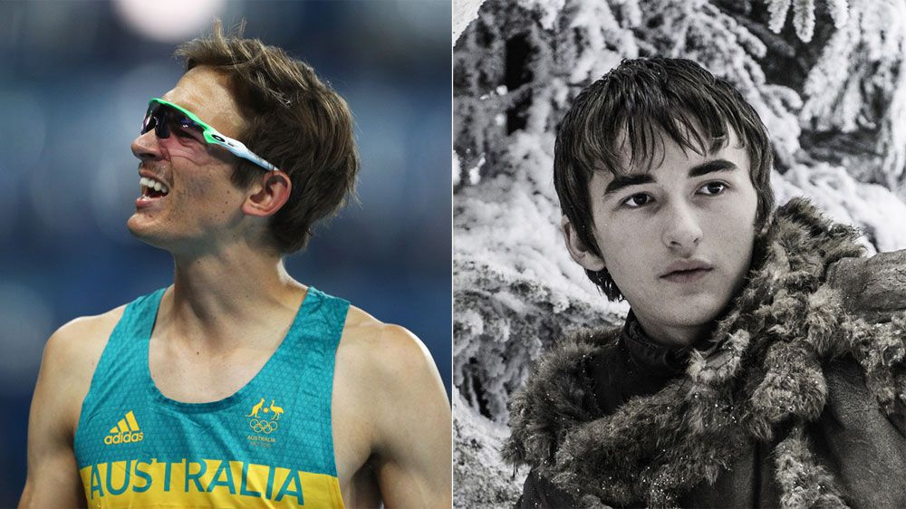 High-jumping Brandon Starc, left, and Brandon Stark (Isaac Hempstead Wright) in Game of Thrones (Getty and AAP)