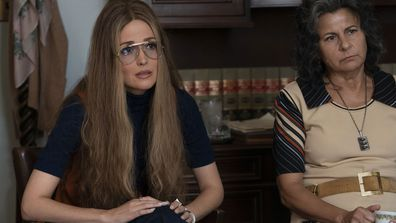 "This image released by FX shows Rose Byrne as Gloria Steinem, left, and Tracey Ullman as Betty Friedan in a scene from the miniseries ""Mrs. America."""