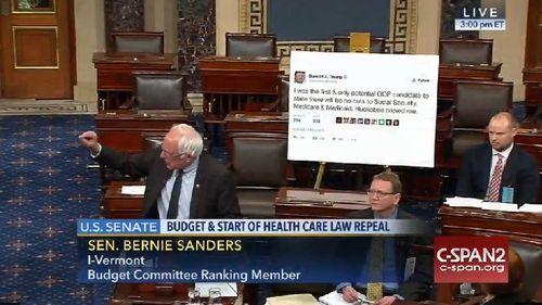 Bernie Sanders uses Donald Trump's own tweet against him in Obamacare repeal battle