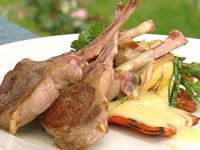 Barbecue lamb cutlets with Mediterranean vegetables