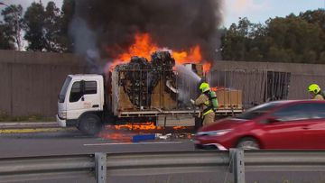 A truck on fire in Botany this afternoon.