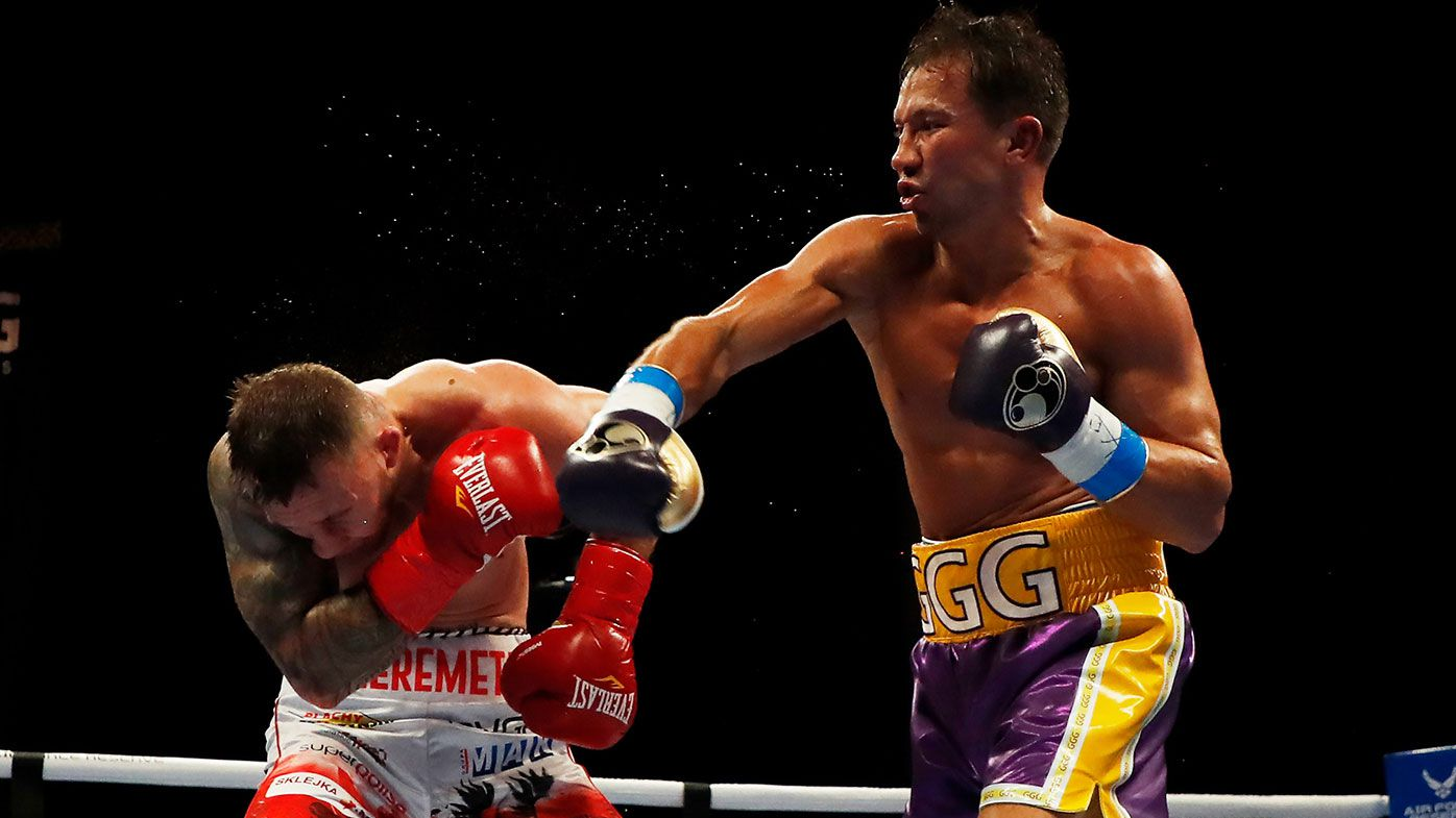 Gennadiy Golovkin lands a blow to Kamil Szeremeta in their IBF Middleweight title bout at Seminole Hard Rock Hotel & Casino on December 18, 2020
