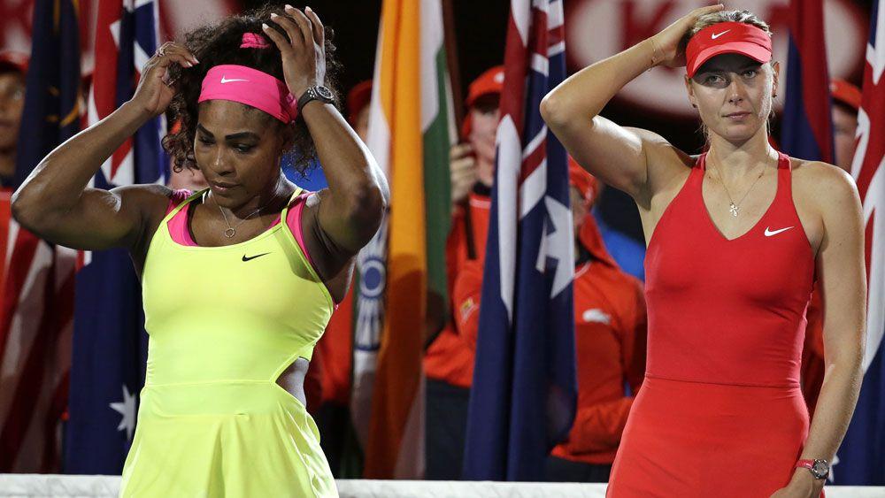 Serena Williams and Maria Sharapova. (AAP)