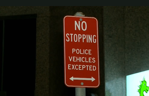 He had also parked in a 'Police Vehicles Only' parking area. (9NEWS)