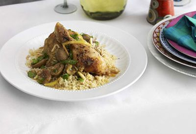 Chicken and lemon tagine with cracked green olives