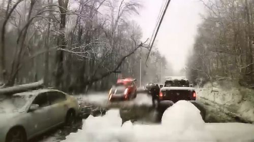 Firefighters were called to an accident on a car in Hyde Park, New York, when a massive tree branch fell on a power line. (Roosevelt Fire District)