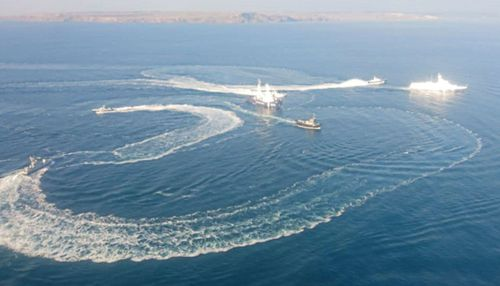 The confrontation between the Russian coastguard and the Ukrainian vessels off Crimea.