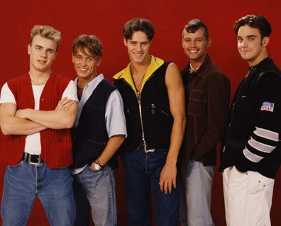 British boy band Take That in 1991. From left to right: Gary Barlow, Mark Owen, Howard Donald, Jason Orange and  Robbie Williams.