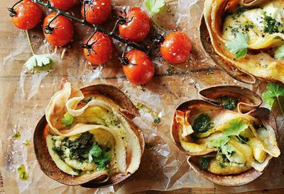 Donna Hay's pancetta, ricotta and kale frittata cups
