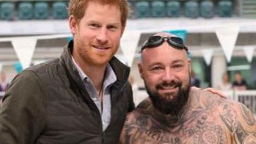 Tyronne Gawthorne (right) posed for a photo with Invictus Games founder, Prince Harry, (left) in 2017 after meeting at a training session. (Facebook)
