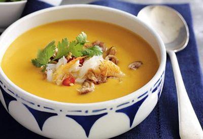 """Recipe:<a href=""""/recipes/icrab/8347819/thai-pumpkin-soup-with-spanner-crab"""" draggable=""""false"""">Thai pumpkin soup with spanner crab</a>"""