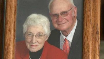 "A couple married for more than six decades have died side-by-side just moments after one another in a US nursing home.<br /> Henry and Jeanette De Lange passed away on July 31 in a South Dakota nursing home, just 20 minutes apart, in what one of their sons has described as a ""beautiful act of God"".<br /> ""You don't pray for it because it seems mean but you couldn't ask for anything more beautiful,"" Lee De Lange told CNN.<br /> Jeanette De Lange, 87, who was suffering with Alzheimer's, died first at 5:10pm local time.<br /> The family told her 86-year-old husband that ""mom's gone to heaven,"" and he could join her if he wanted."