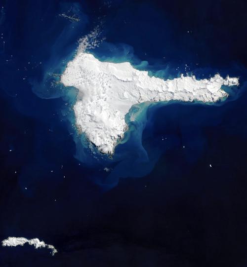 A Landsat image of Elephant Island in the Antarctic Peninsula.