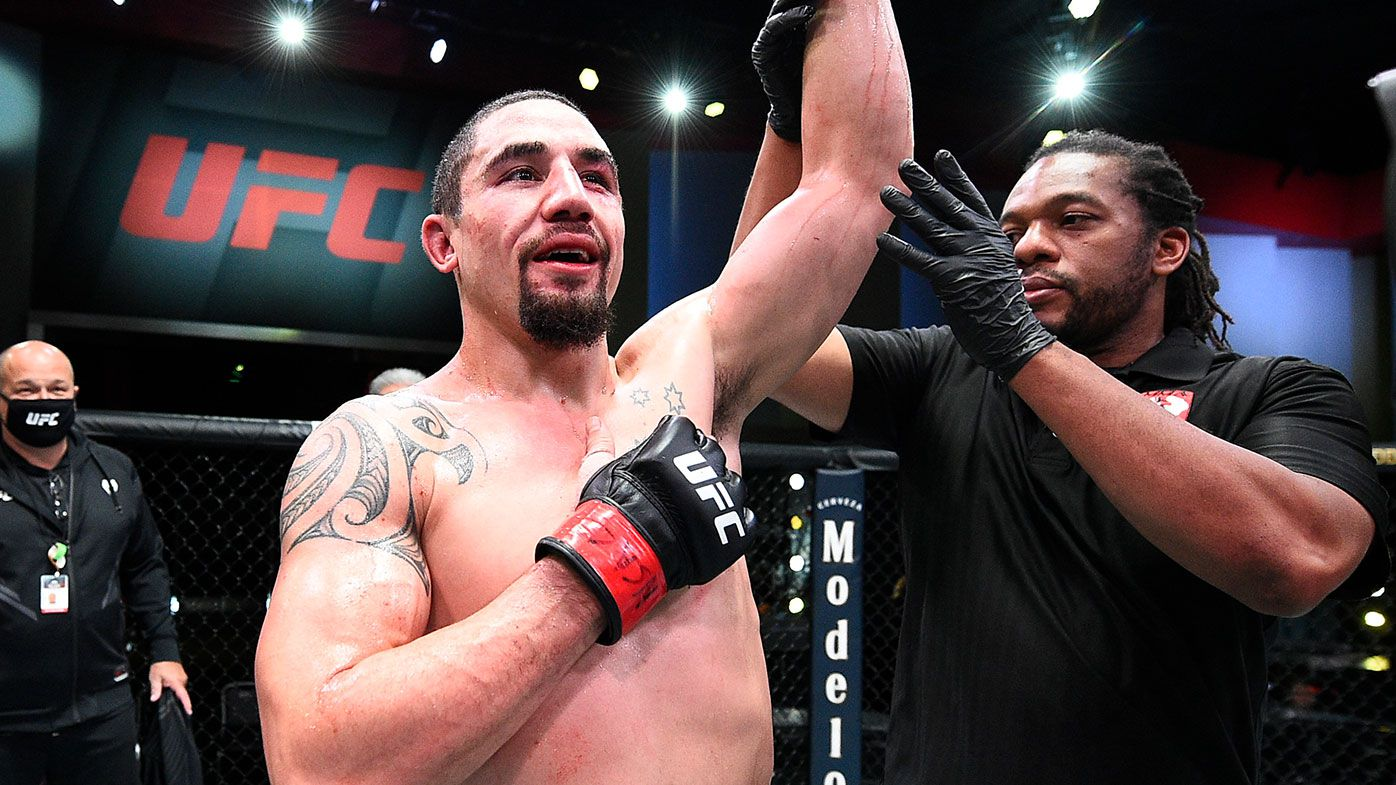 Robert Whittaker of Australia reacts after his victory over Kelvin Gastelum in a middleweight fight during the UFC Fight Night event at UFC APEX on April 17, 2021 in Las Vegas, Nevada. (Photo by Chris Unger/Zuffa LLC)