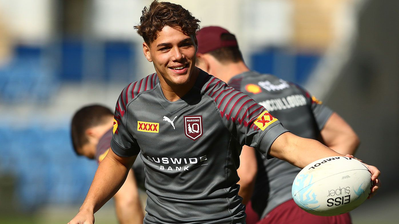 Reece Walsh during a Queensland Maroons State of Origin training session
