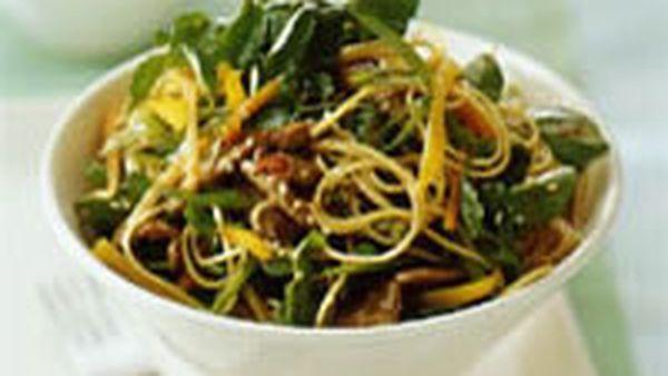 Sesame beef pasta salad