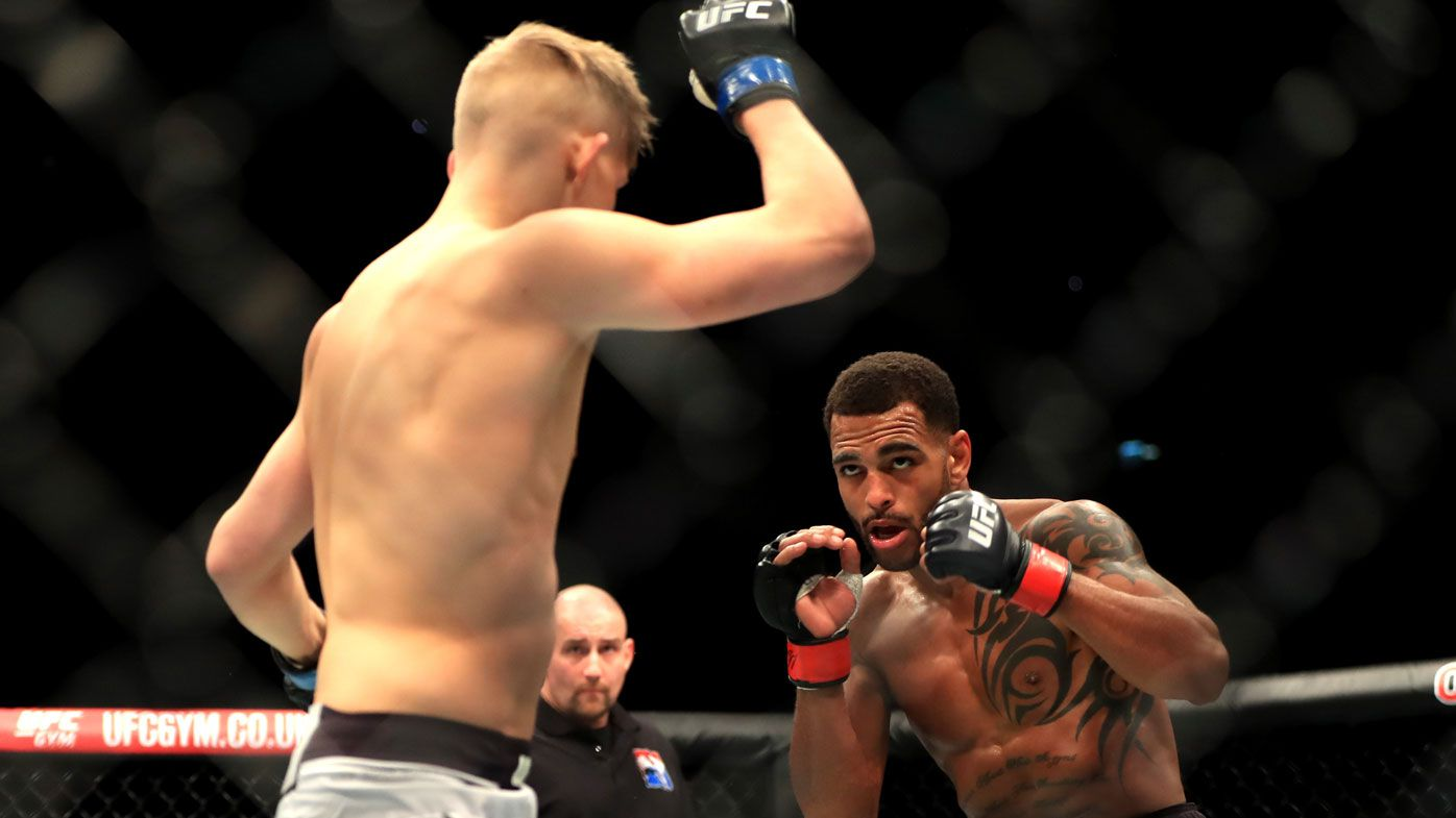 Danny 'Hot Chocolate' Roberts flattens Oliver 'The Future' Enkamp with killer left punch at UFC Fight Night