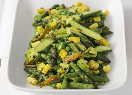 Summer vegetable salad with mint and lemon dressing
