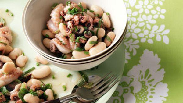 Baby octopus & lima bean salad